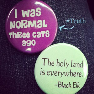 I Was Normal Three Cats Ago button and The Holy Land Is Everywhere Black Elk Quote button