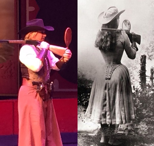 Annie Oakley over shoulder mirror shotgun trick