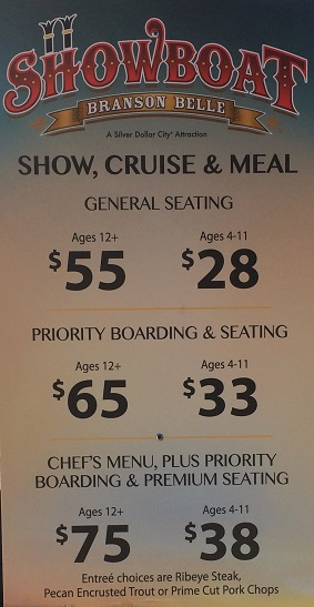 Showboat Branson Belle ticket prices adults children priority